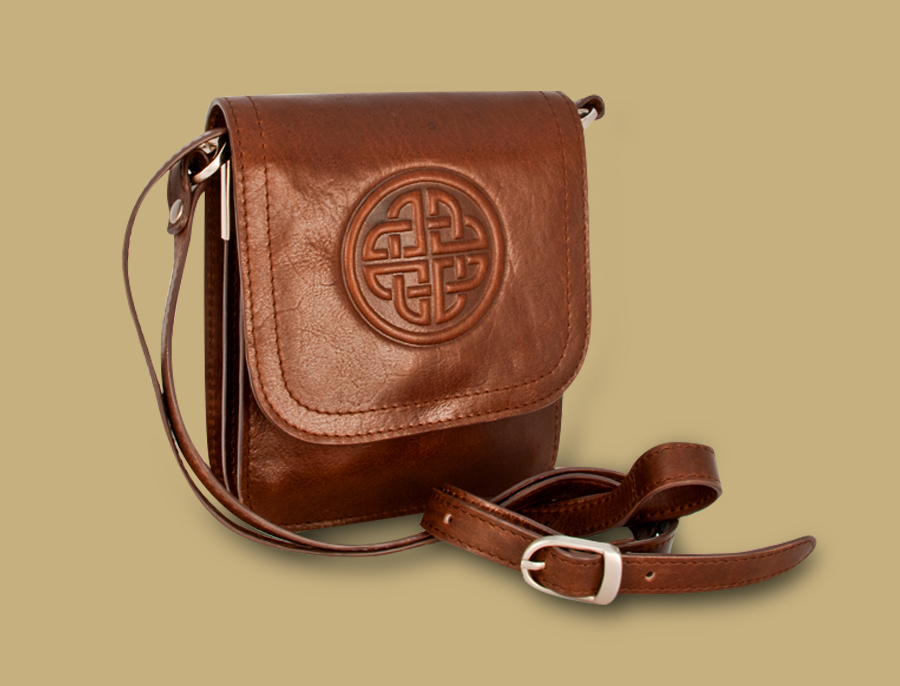 Celtic Knot Embossed Brown Leather Bag from Ireland