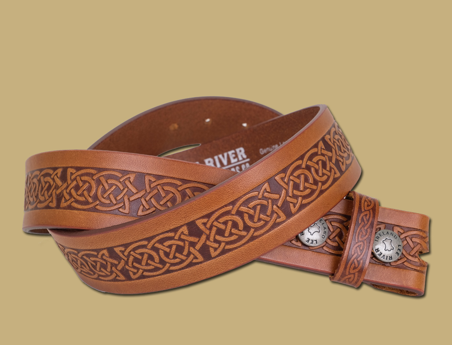 celtic embossed leather snap on belt