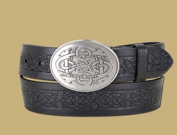 4 hounds belt and buckle handmade snap on