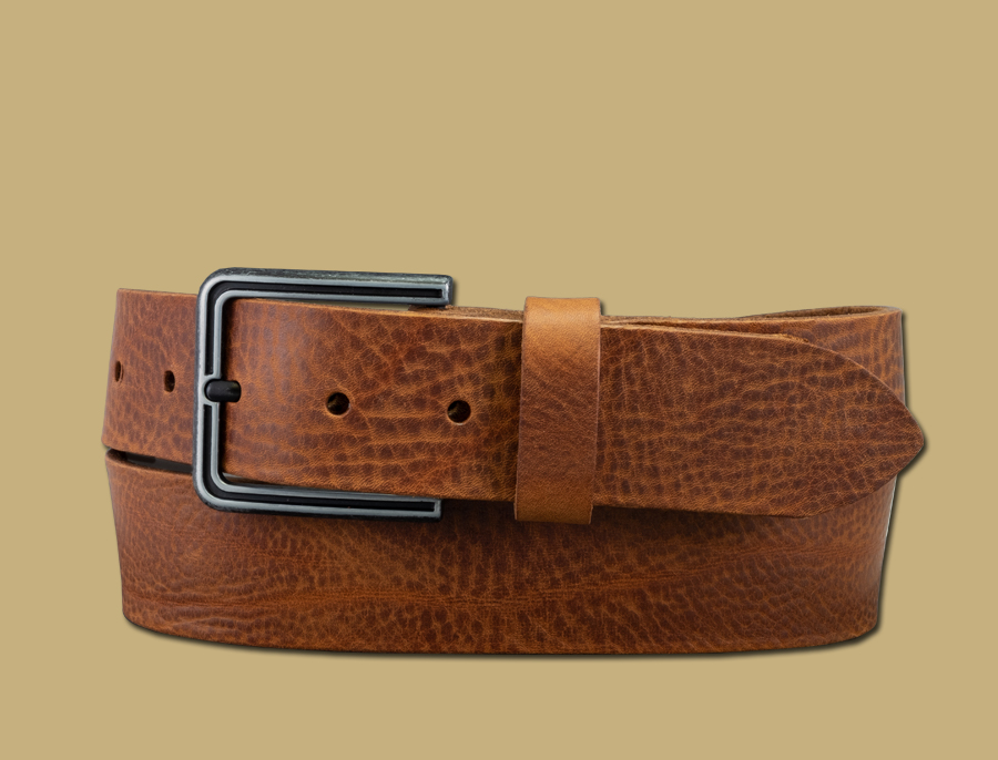 Distressed handmade leather belt tan
