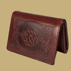 Tri Fold Celtic Embossed Wallet by Lee River Leather