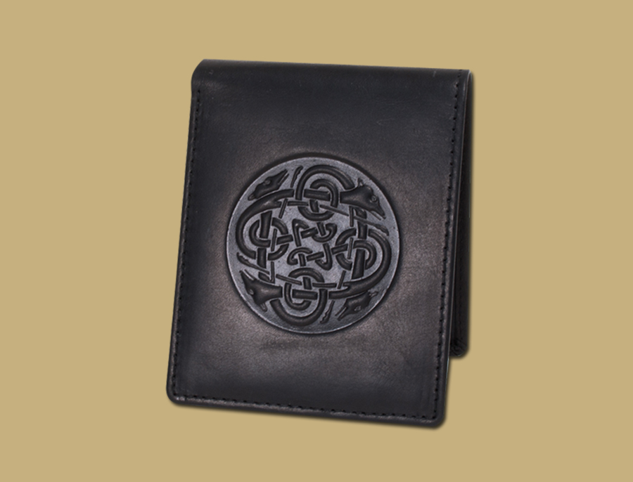 Celtic Embossed Hounds Celtic Wallet Black
