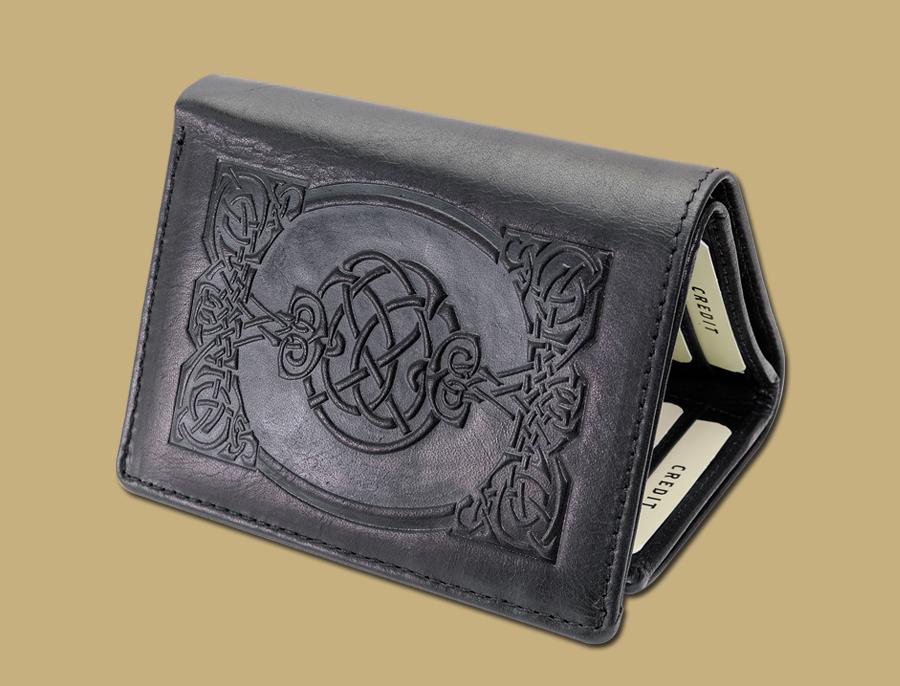 Tri fold celtic embossed wallet black