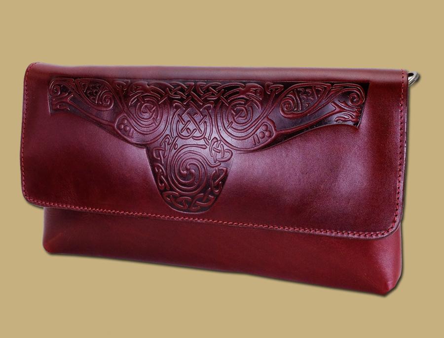 Ciara-Celtic-Embossed-Ladies-Clutch-Bag-Red