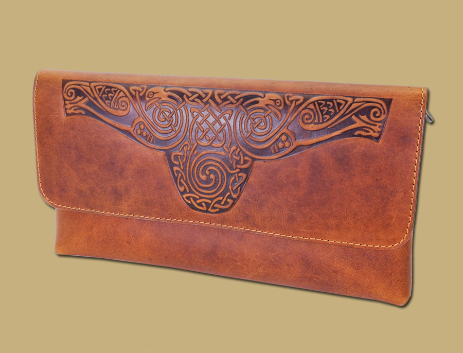 Ciara-Celtic-Embossed-Ladies-Clutch-Bag-Tan