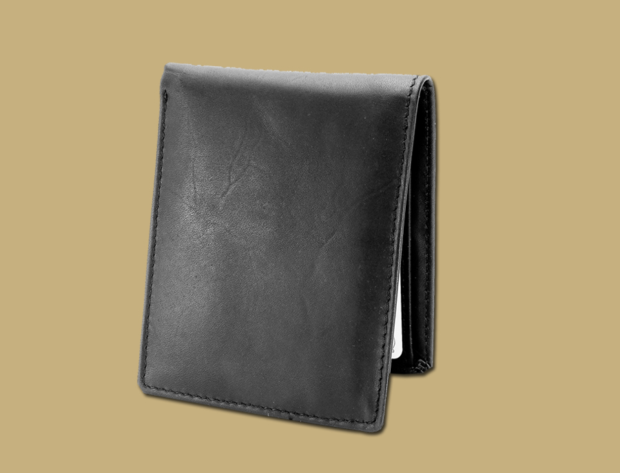 Classic Matte Black Gents Leather Slim Wallet and Card Holder