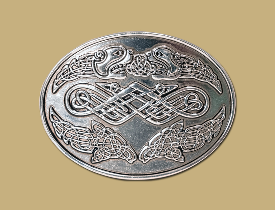 celtic heads snap on belt buckle