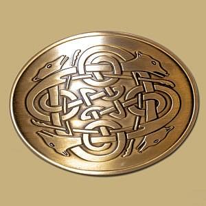 celtic hounds buckle brass