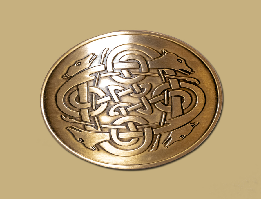 celtic hounds buckle brass