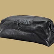 Black Celtic Embossed Leather Wash Bag