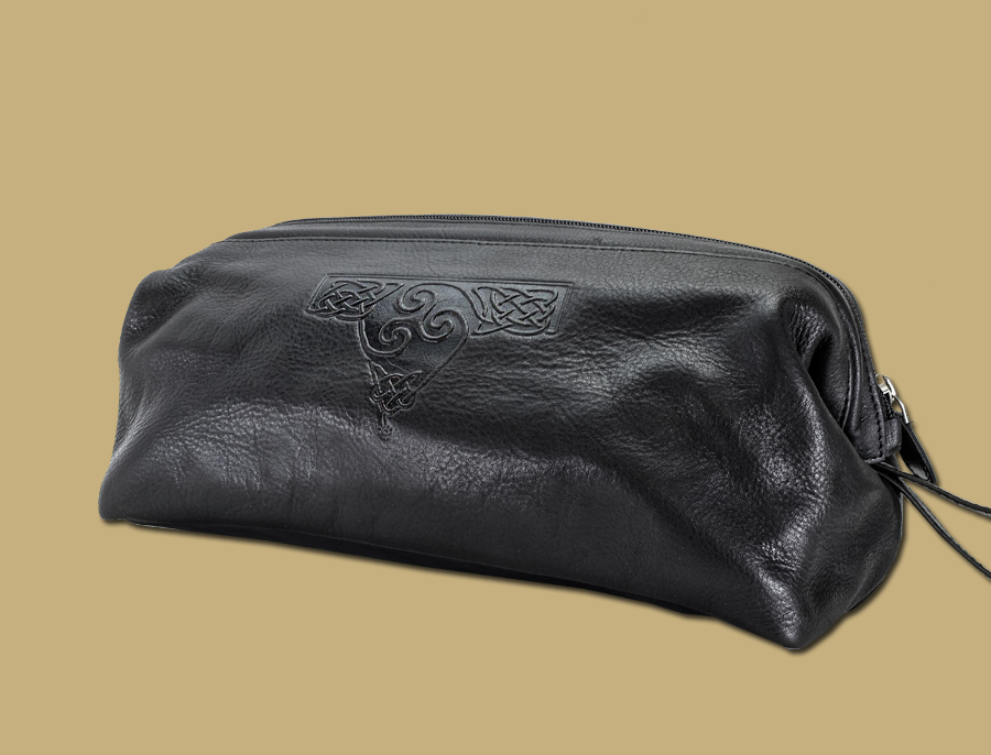 Black Celtic Embossed Leather Wash Bag