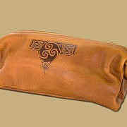 Tan Celtic Embossed Leather Wash Bag