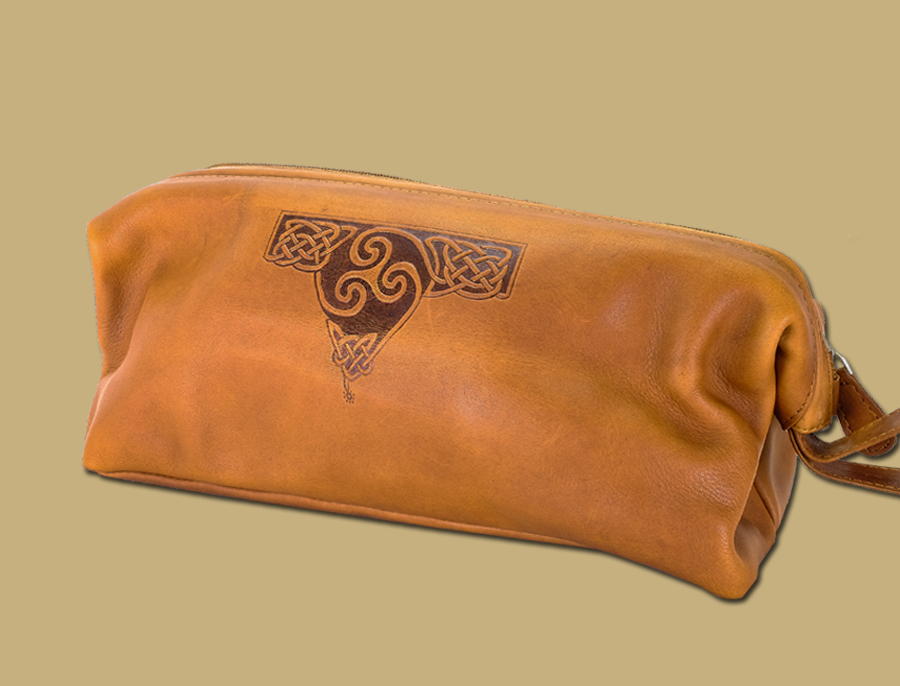 Tan Celtic Embossed Leather Wash Bag