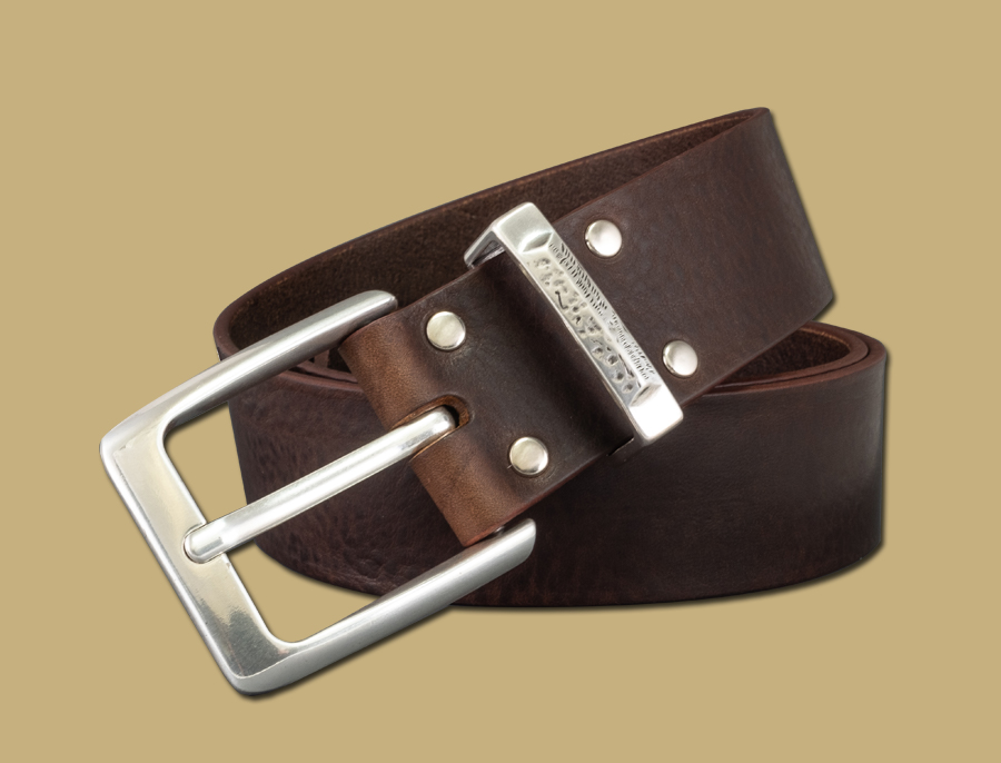 classic handmade leather belt silver buckle brown