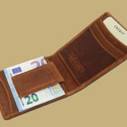 Celtic embossed leather money clip from Ireland