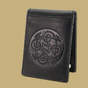 black Celtic embossed leather money clip from Ireland