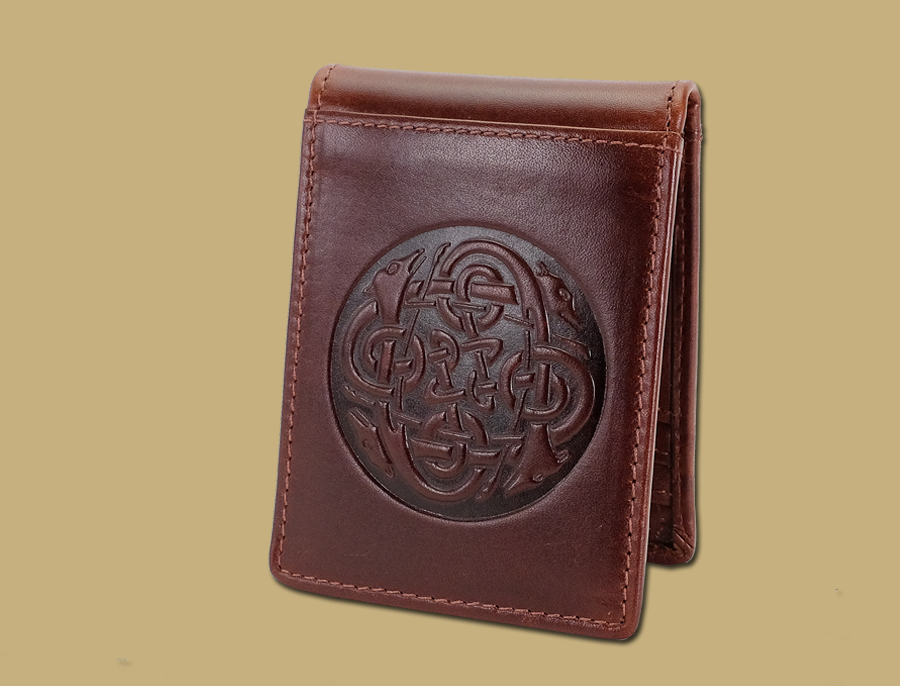 Brown Celtic embossed leather money clip from Ireland