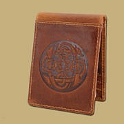 tan Celtic embossed leather money clip from Ireland
