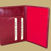 Red Leather Passport Cover with Inside Card Slots for Parking Ticket