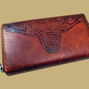 Ladies celtic embossed leather wallet from Ireland