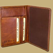 Tan Leather Passport Cover with Inside Card Slots for Parking Ticket
