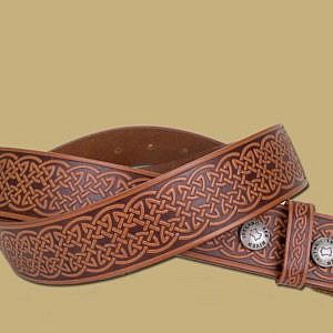 celtic embossed leather snap on belt from Ireland