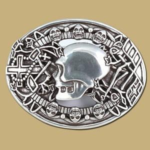 skull snap on silver belt buckle