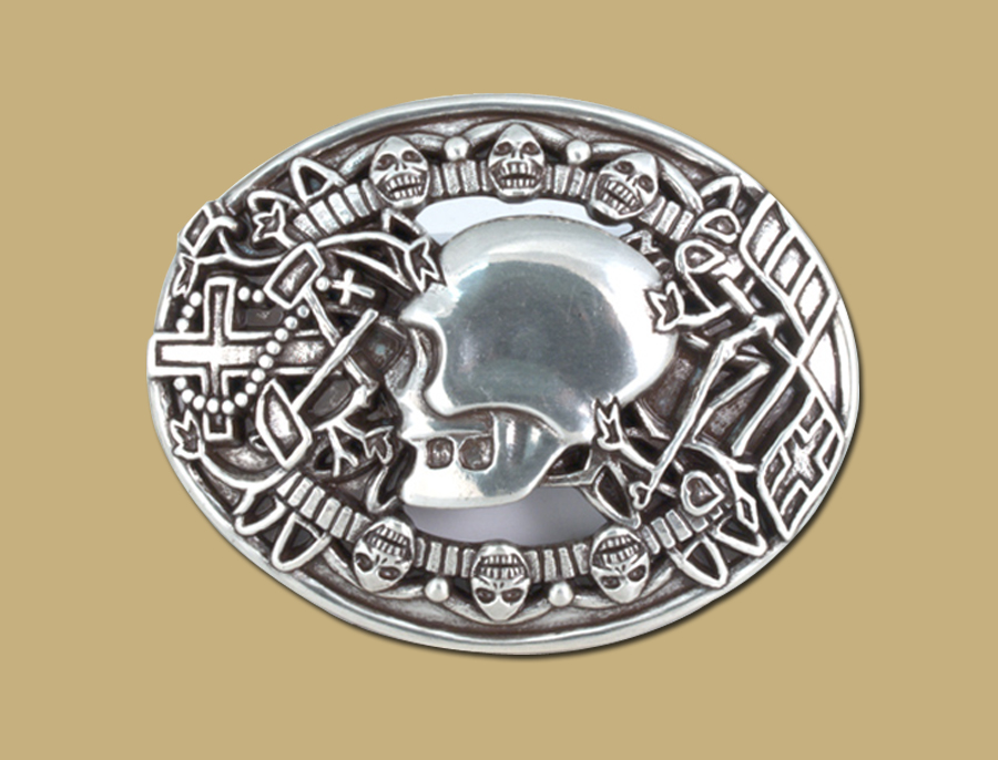 skull snap on silver belt buckle