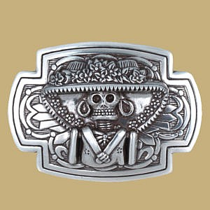 Silver Day Of The Dead Skull Sombrero Buckle from Lee River Ireland