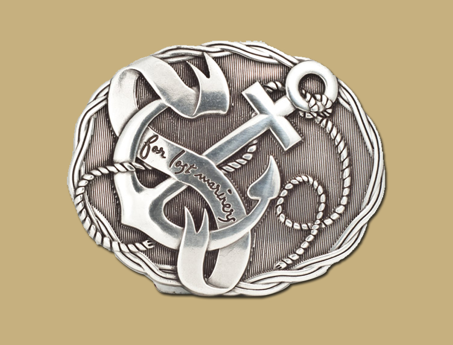 Lost Mariners Anchor Sailor Silver Buckle from Lee River Ireland