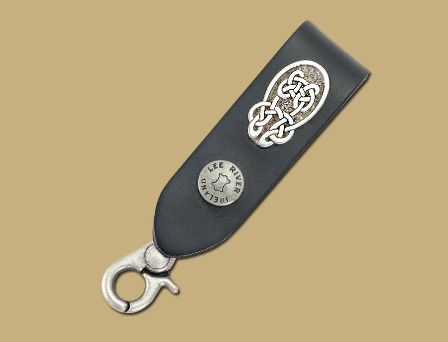 Large knot black leather celtic key fob