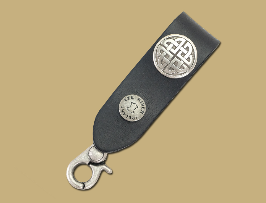 bold knot black leather celtic key fob