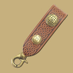 embossed celtic brown leather key fob