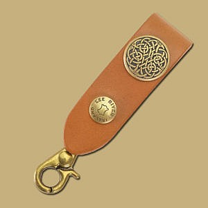 brown celtic knot leather key fob old gold intricate