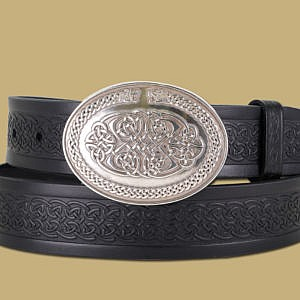 celtic-emobossed-leather-snap-on-belt-beasts-buckle-black