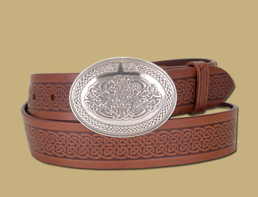 celtic-emobossed-leather-snap-on-belt-beasts-buckle-brown-detail