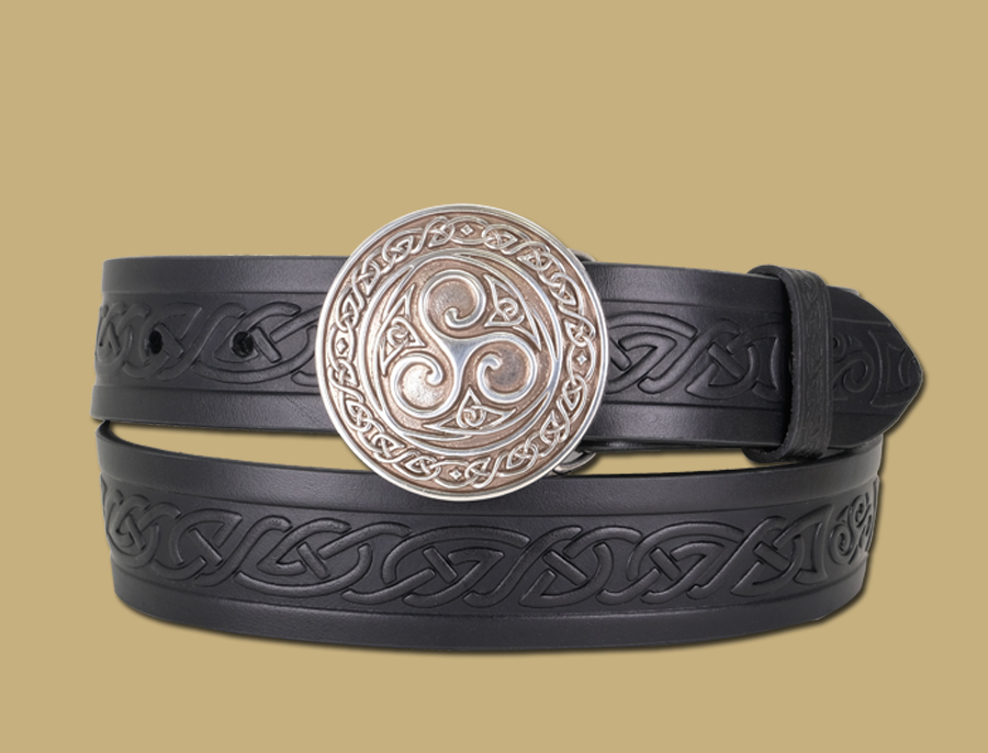 triskle buckle and embossed Celtic snap on belt black