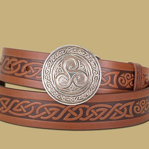 triskle buckle and embossed Celtic snap on belt brown