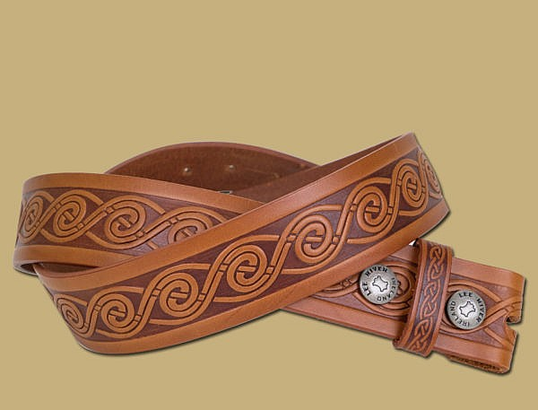 celtic wave embossed leather handmade snap on belt in brown from Lee River Ireland