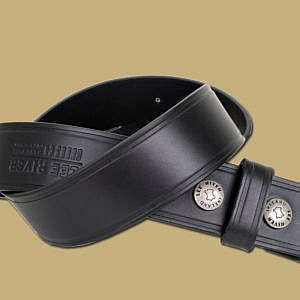 25 Year Handmade Snap On Leather Belt Black