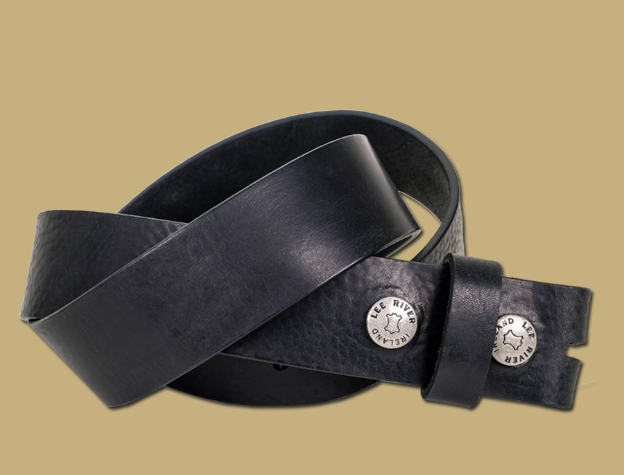 Tuscan Tanned Snap On Leather Belt Black