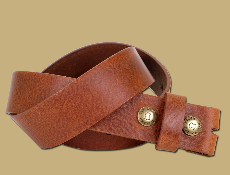 Tuscan Tanned Snap On Leather Belt Tan