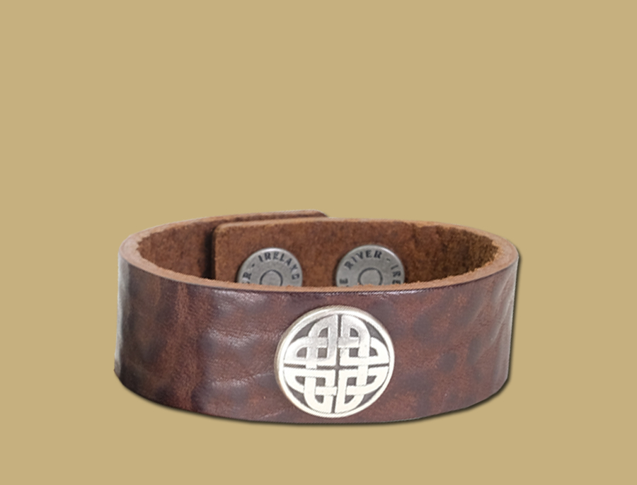 dark brown tuscan tanned leather celtic cuff