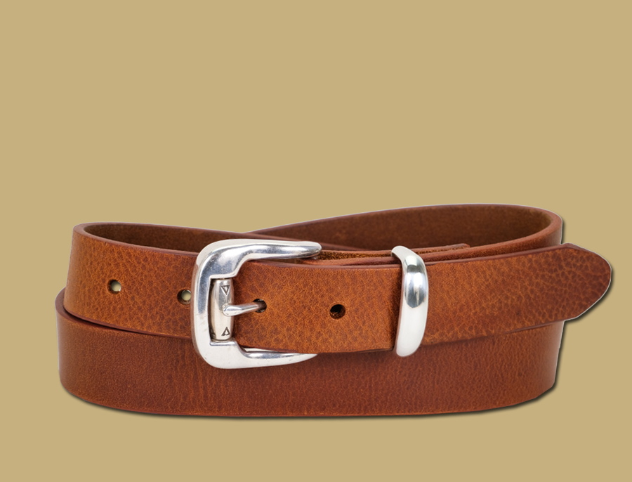 premium tan leather suit belt made in Ireland by Lee River