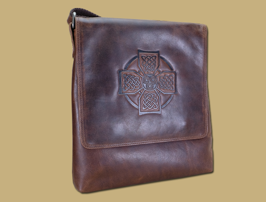 Brown Leather Celtic Cross Satchel Bag Rustic