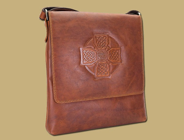 Waxed Leather Celtic Cross Satchel Bag