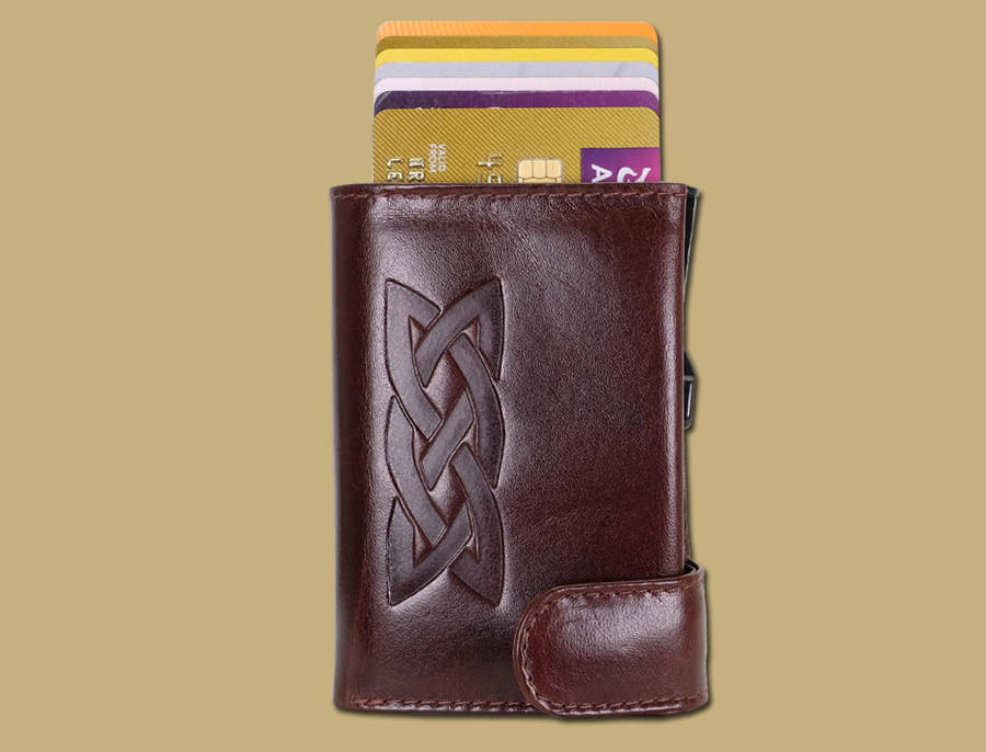 RFID pop up credit card wallet in brown with celtic emboss by lee river leather