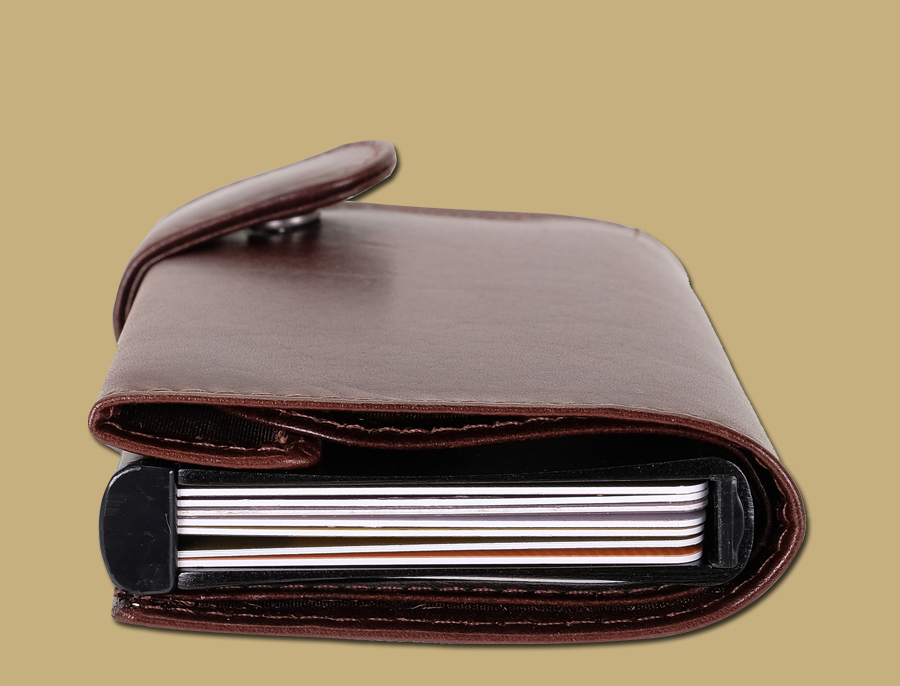RFID pop up credit card wallet brown by lee river leather