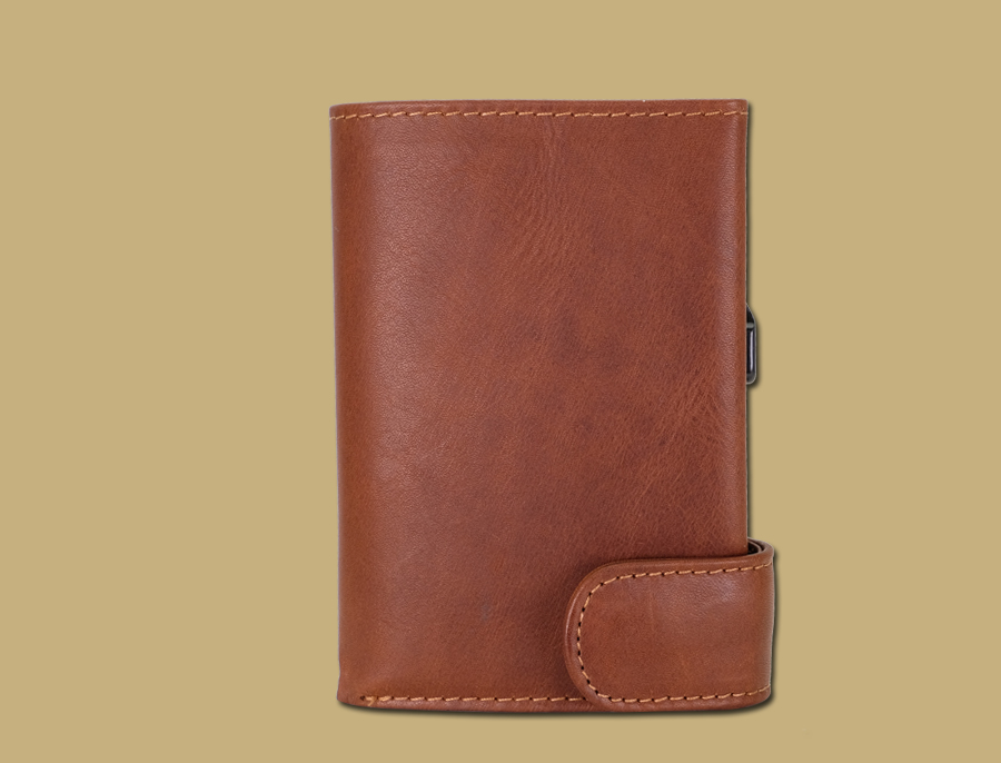 front of RFID pop-up card wallet by leeriver leather Ireland