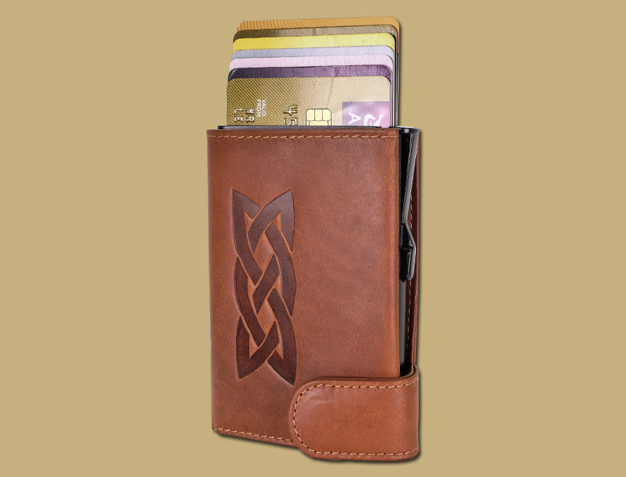 Celtic Embossed RFID Secure Pop-Up Card Wallet